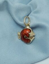 Beautiful 14K Karat 585 Stamp Yellow Gold Designer Red Enamel Fish Charm Pendant