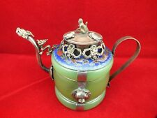 Chinese old Tibetan silver Dragon Lion Green jade Cloisonne teapot Monkey Lid