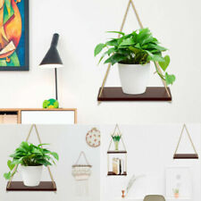 Rustic Wooden Hanging Rope Shelf - Handmade Solid Natural Wood Floating Shelves