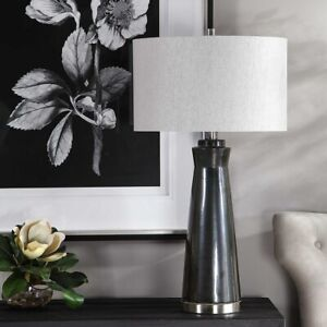 """NEW MODERN CERAMIC XXL 31"""" ACCENT TABLE LAMP BRUSHED NICKEL METAL UTTERMOST"""