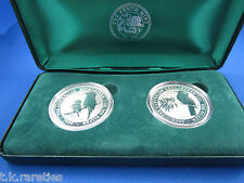 1999 + 2000 SILVER Kookaburra 2 COIN Millennium 1 oz edition in Perth Mint Box