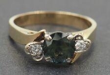 Handmade Parti Sapphire & Diamond Engagement Womens Ring 9ct Yellow & White Gold