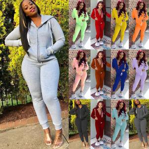 Women Casual Tracksuit Hooded Tops Pants Suit Ladies Sport Lounge Wear Sweatsuit
