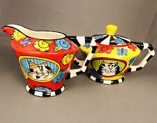 New listing Catzilla 2005 Creamer & Sugar Bowl with Lid Set by Candace Reiter