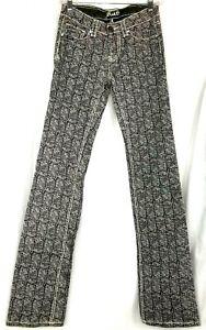 Adiktd womens denim jeans pants size 0 gray animal print straight leg reptile
