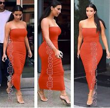 Womens clubwear PARTY solid stretch slim tight fit tube LONG BODYCON Dress LARGE