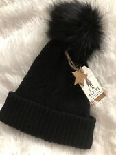 Black Cable Knit Bobble Hat With Faux Fur Pom Pom One Size