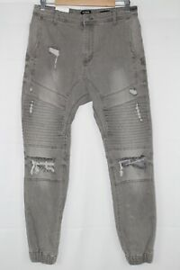 Cotton On Men's Slim Denim Jogger Moto Size 30 Gray Destroyed