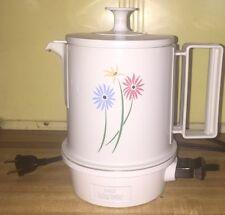 Vintage Electric Regal Poly Hot-Pot 5 Cup Coffee Tea Pot White Blue Pink Daisy