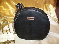 LANCÔME PARIS Cosmetic Case Bag Black Faux Leather Large Round Double Zipper NEW