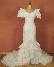 Vintage 90s Wedding Dress Gown Victorian Edwardian Mermaid Train Ruffles 4/6 S/M