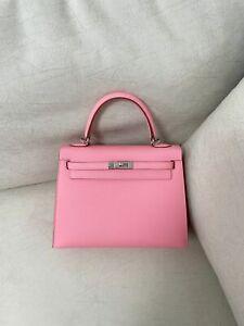 Hermes Kelly 25 Handbag 1Q Pink Rose Confetti Epsom Leather Y Stamp
