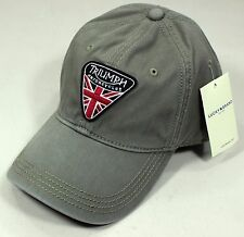 NWT Lucky Brand Triumph Motorcycle UK Flag Patch Olive Baseball Hat Cap Adjust