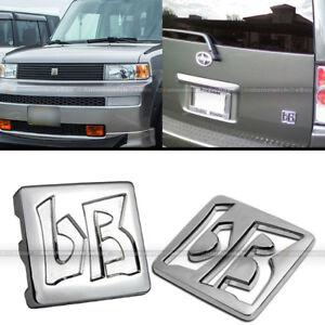 For 03-07 xB JDM bB Front Hood Grille Rear Trunk Chrome Finish Logo Badge Emblem