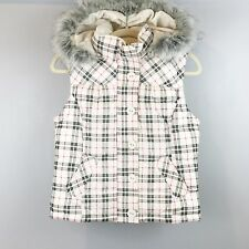 AEROPOSTALE Plaid Puffer Vest Small Faux Fur Hood Zip Button Front White Black