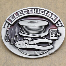 Vintage Silver Western Tradesman Electrician Electric Tools Rodeo Belt Buckle