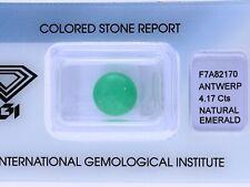 natürlicher 4,17 Karat Smaragd Rund IGI Expertise