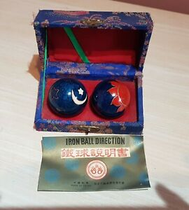 Vintage Chinese Baoding China Iron Ball Direction in Original Box