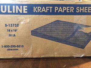 "Uline Kraft Paper Series S-13732 2196 pcs 18"" x 18"" Paper 100% Recycled"