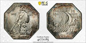 1925 Norse-American Centennial Silver Medal PCGS MS66 CAC Thin Planchet