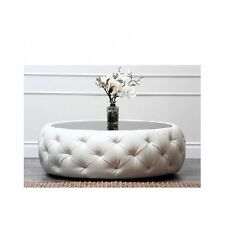 Coffee Table Round Tufted White Leather Black Glass Top Living Room Furniture