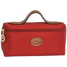 Longchamp Le Pliage Cosmetic Case Nylon Leather Trim Bag Burnt Red