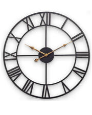 "Decor Wall Clock, European Retro Clock with Large Roman Numerals, 18"" Black"