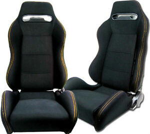 NEW 1 PAIR BLACK CLOTH & YELLOW STITCHING ADJUSTABLE RACING SEATS CHEVROLET ***