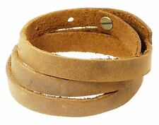 Brown Leather Wrap Around Strap Wristband Bracelet Max Wrist Size 56cm