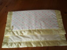 Handmade Lovely Spotted Baby Cover & Pale Yellow Satin Blanket Binding