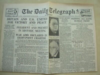 DAILY TELEGRAPH WWII NEWSPAPER AUGUST 15th 1941 BRITAIN & US UNITED FOR VICTORY