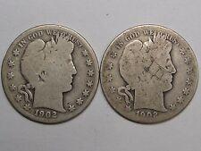 2 Silver US BARBER Half Dollars: 1902 & 1902-s.  #6