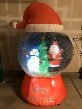 Gemmy 6 ft Animated Merry Christmas Santa Hat Snow Globe Airblown Inflatable