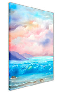 Spring Beach Waves Oil Painting Re-Print Framed Canvas Prints Wall Art Pictures