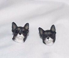 Chihuahua Dog Head Plastic Resin Pierced Earrings 3D Costume Novelty Jewelry