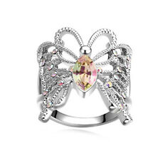 Retro Atmosphere Butterfly Topaz 925 Silver Wedding Jewelry Ring Size 6-10