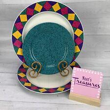Signature Stoneware Multicolored Diamond Trim Rim Set 2 Dinner 1 Salad Plates