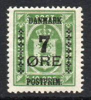 Denmark 7 Ore on 10 Ore Stamp c1926-27 Mounted Mint (2181)