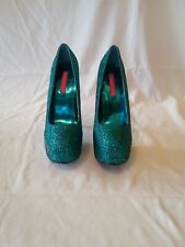 BORDELLO Shoes High Heels Rhinestone Pump Concealed Platform TEEZE-06R Size 7?