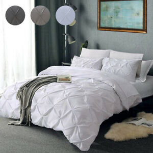 Luxury Pleated Pintuck Duvet Cover/Quilt Cover Set Bedding Cream/Grey/White