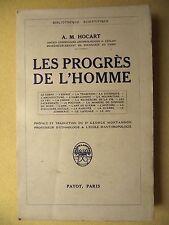 A.M. HOCART LES PROGRÈS DE L'HOMME SOCIOLOGIE ETHNOLOGIE PAYOT 1935