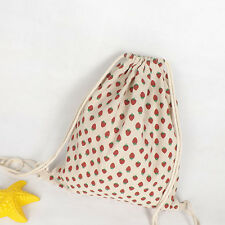 Cotton Linen Drawstring Travel Backpack Student Book Bag Red Strawberry A27 S