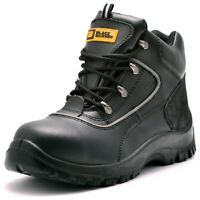 Mens Leather Safety Boots Steel Toe Cap Work Shoes Ankle Size Protection 5-13 S3