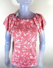 Anne Klein Womens Bal Harbon Papaya Multi Top Shirt Blouse Size M L 12 14