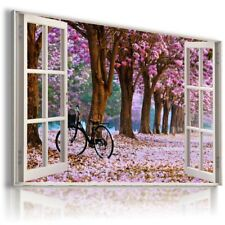 PINK FLOWERS PARK BICYCLE 3D Window View Canvas Wall Art Picture W567 MATAGA .