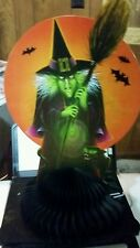 FREE SHIP! 1BEISTLE HALLOWEEN🎃VINTAGE STYLE WICKED WITCH-BLACK CAT🐱CENTERPIECE