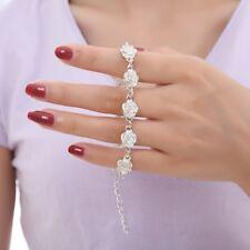 Fashion Women Bracelet Rose Flower Rhinestone Bangle Charm Cuff Chain Jewelry