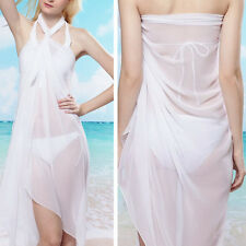 White Solid Color Sheer Pareo Dress Sarong Beach Bikini Swim Cover Up Scarf Wrap