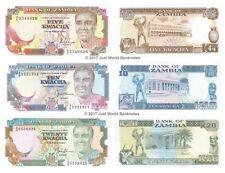 Zambia 5 + 10 + 20 Kwacha 1989 Set of 3 Banknotes  3 PCS  UNC