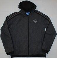 Adidas Cotton Trefoil Hoodie Zip Up Jacket - Medium Size M - Grey & Black - Mens